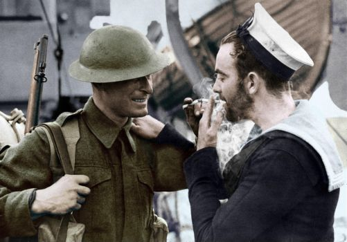 Sharing a smoke - Colorized by OldHank