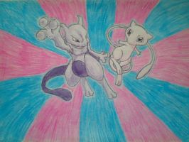 Mewtwo and Mew by AsakuraHao85