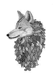 Zentangle Wolf by poreen