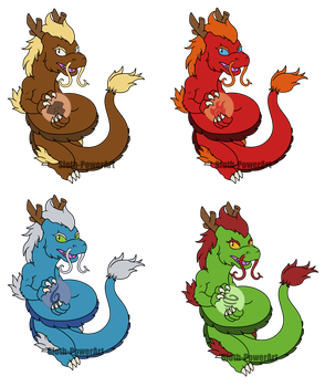 Commission - Eastern Dragons by Sloth-Power