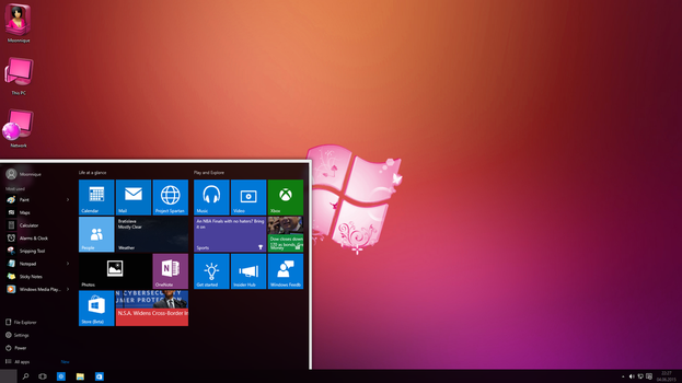 Windows 10 Lady Pink edition preview by Moonnique