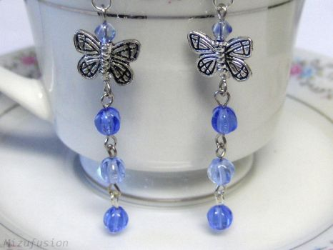 Silver and Blue Butterfly Earrings by mizufusion