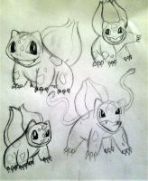 Bulbasaur Sketches by Cookiedough-Gecko
