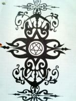 Tribal heartagram design by jessicore666