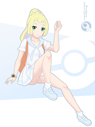 Lineart_Pokemon Lillie and Cosmoem by Orcaleon