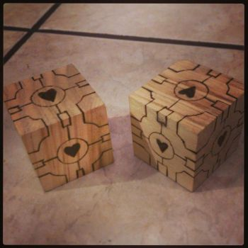 Woodburned companion cubes by chui92