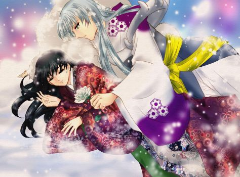 Sesshomaru and Rin together by shiyen119