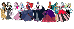 Disney Princesses Colored as Monster High by bluecloudcandy
