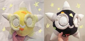 Shiny and yellow Minior core plushies