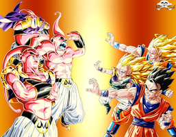 Majin VS Saiyen by Niiii-Link