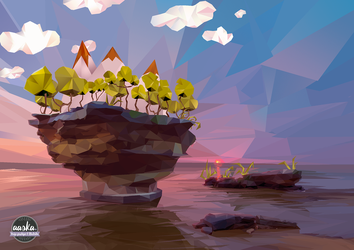 My first low-poly landscape ! by AASKA-CREA