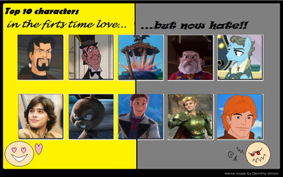 :3's Top 10 First Loved Now Hate Characters. by catdragon4
