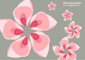 pink flower gray background by razangraphics