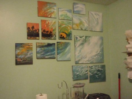 ocean wave on wall by MissCreepers