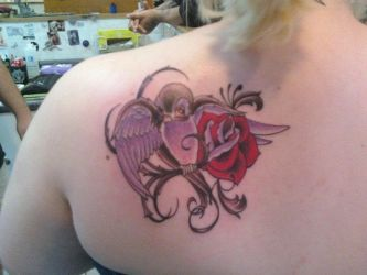 Sparrow and Rose Tattoo by XPurpleHaloX