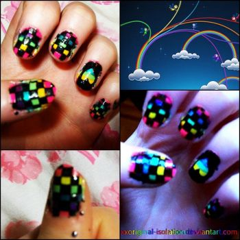 Rainbow Checkered Nails by thatcoldmask
