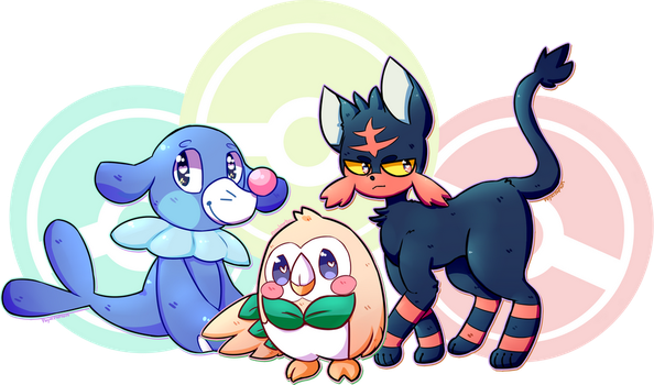 Pokemon Sun and Moon Starters !! by royalraptors