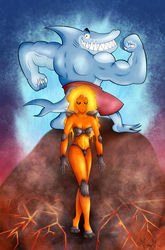 Overzealous Shark Man And Provocative Lava Woman by gagaman92