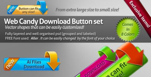 Web Candy Download Buttons by milo13200