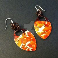 Orange Autumn Leaves Scalemaille Earrings by Rosie-Periannath