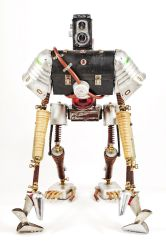 Duncan - Found object robot assemblage sculpture by adoptabot