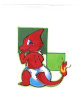 AT: Lou, the well diapered Charmeleon by masterofevil44