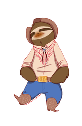 Country Sloth - Musical Sloths by IllustratedJai