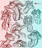 August Dragon Sketch Dump by InkRose98