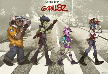Gorillaz on Abbey Road by EddieHolly