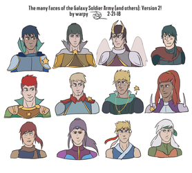 The many faces of the Galaxy Soldier Army: redrawn by warp-y