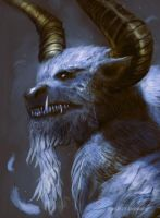 The Feathered Minotaur - closeup by Brollonks