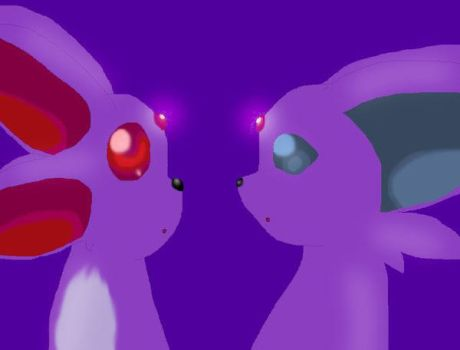 Espeon meets Ruby Carbuncle by hitokage195