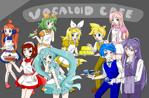 Vocaloid Cafe Outfits by pinkkittypower