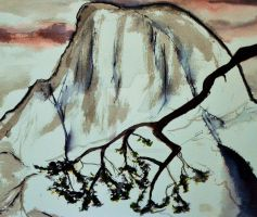 Half Dome and an Oak Branch by Yosemite-Stories