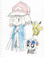 Serena wearing Ash's clothes.... by Pikafan09