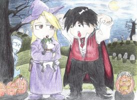 Roy and Riza:A Chibi Halloween by FullmetalFlame29