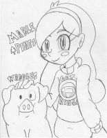 Mabel and Waddles (line) by ADSHedgehog