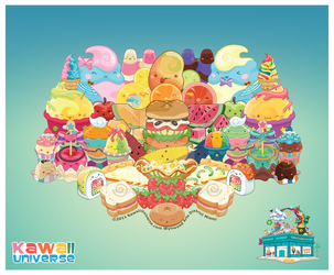 Kawaii Cute Food Group Bonanza Vector by KawaiiUniverseStudio