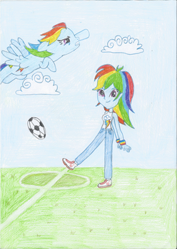 Rainbow Dash As Pony And Equestria Girl by Snowdrop1985