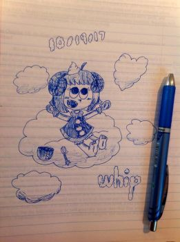 Inktober Day 19: Floating on a cloud [Pop'n Music] by the01angel
