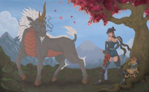 Kirin and The Huntress by UniqueTechnique