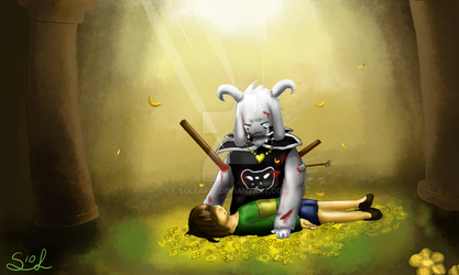 Asriel and Chara by Soleaf10