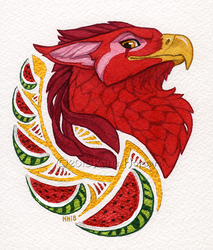 Watermelon Gryphon Portrait by KatieHofgard