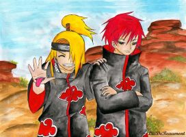 Deidara and Sasori by LiaDeBeaumont