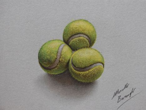 Tennis balls DRAWING by Marcello Barenghi by marcellobarenghi