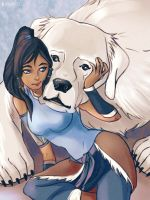 Korra And Naga by RealDandy