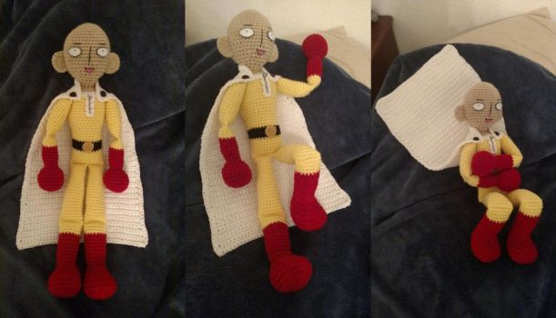 Saitama crochet plush multiple views(with pattern) by ListenMagician