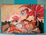 2013 drawing - God mode Goku vs. Naruto Ninetails by nielopena