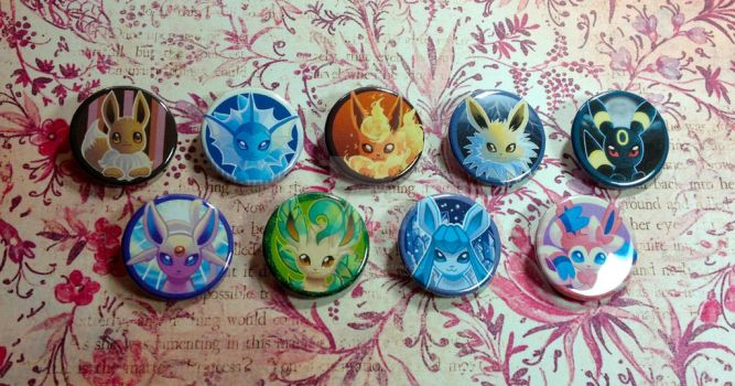 Eeveelutions Buttons by Valen-LaRae