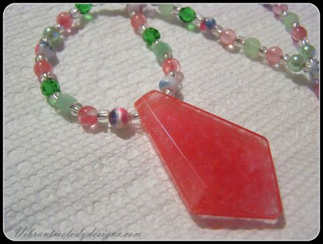 Spring Necklace with Cherry Quartz Pendant by vibrantmelodydesigns